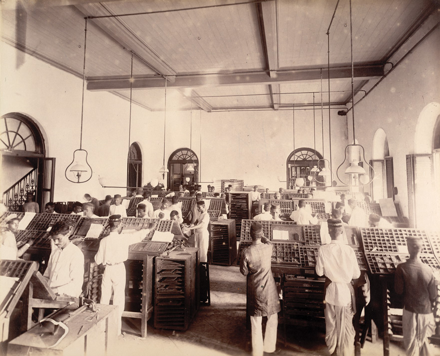 News composing room ['Times of India'], - November 1898.